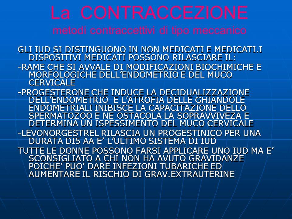 GLI IUD SI DISTINGUONO IN NON MEDICATI E MEDICATI.I DISPOSITIVI MEDICATI POSSONO RILASCIARE IL: -RAME CHE SI AVVALE DI MODIFICAZIONI BIOCHIMICHE E MORFOLOGICHE DELLENDOMETRIO E DEL MUCO CERVICALE -PROGESTERONE CHE INDUCE LA DECIDUALIZZAZIONE DELLENDOMETRIO E LATROFIA DELLE GHIANDOLE ENDOMETRIALI INIBISCE LA CAPACITAZIONE DELLO SPERMATOZOO E NE OSTACOLA LA SOPRAVVIVEZA E DETERMINA UN ISPESSIMENTO DEL MUCO CERVICALE -LEVONORGESTREL RILASCIA UN PROGESTINICO PER UNA DURATA DI5 AA E LULTIMO SISTEMA DI IUD TUTTE LE DONNE POSSONO FARSI APPLICARE UNO IUD MA E SCONSIGLIATO A CHI NON HA AVUTO GRAVIDANZE POICHE PUO DARE INFEZIONI TUBARICHE ED AUMENTARE IL RISCHIO DI GRAV.EXTRAUTERINE La CONTRACCEZIONE metodi contraccettivi di tipo meccanico