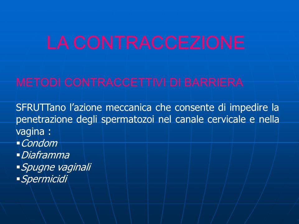 LA CONTRACCEZIONE METODI CONTRACCETTIVI DI BARRIERA SFRUTTano lazione meccanica che consente di impedire la penetrazione degli spermatozoi nel canale cervicale e nella vagina : Condom Diaframma Spugne vaginali Spermicidi