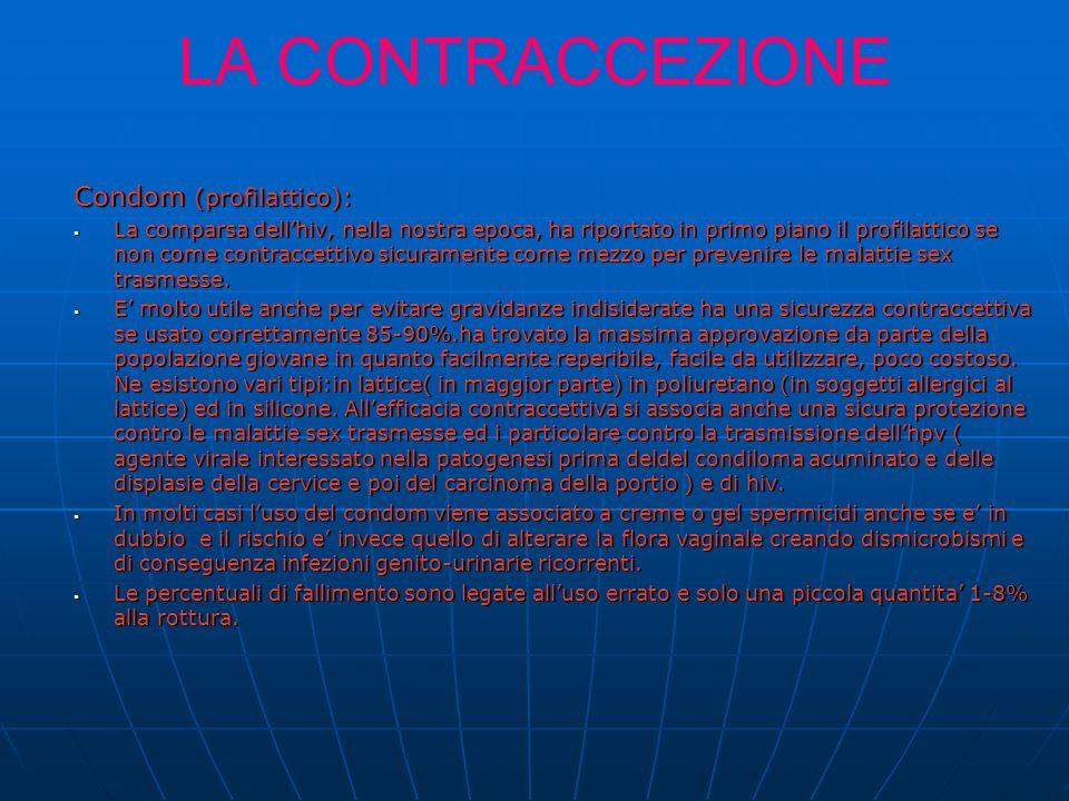 LA CONTRACCEZIONE Condom (profilattico): La comparsa dellhiv, nella nostra epoca, ha riportato in primo piano il profilattico se non come contraccettivo sicuramente come mezzo per prevenire le malattie sex trasmesse.