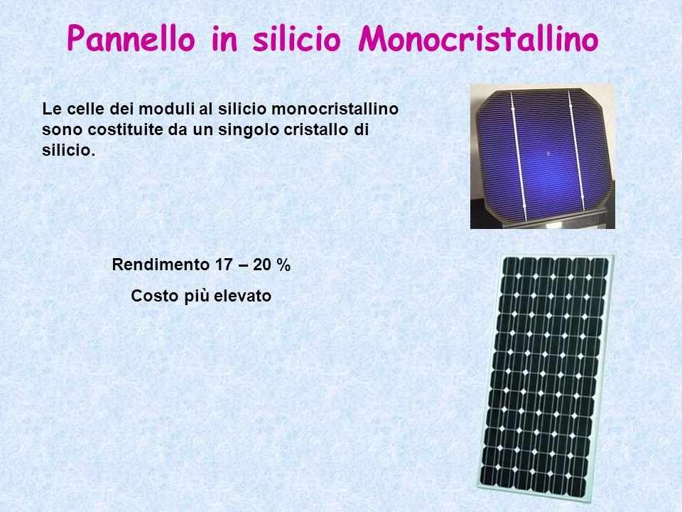 Pannello in silicio Monocristallino Le celle dei moduli al silicio monocristallino sono costituite da un singolo cristallo di silicio. Rendimento 17 –