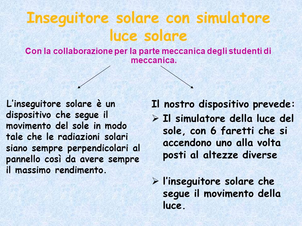 Con la collaborazione per la parte meccanica degli studenti di meccanica. Inseguitore solare con simulatore luce solare Linseguitore solare è un dispo