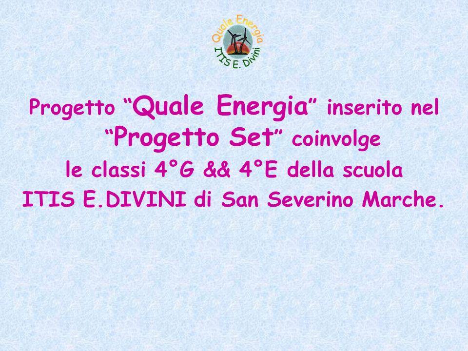 Progetto Quale Energia inserito nel Progetto Set coinvolge le classi 4°G && 4°E della scuola ITIS E.DIVINI di San Severino Marche.