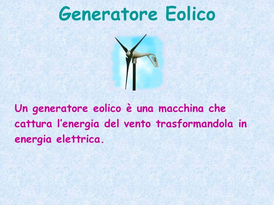 Generatore Eolico Un generatore eolico è una macchina che cattura lenergia del vento trasformandola in energia elettrica.