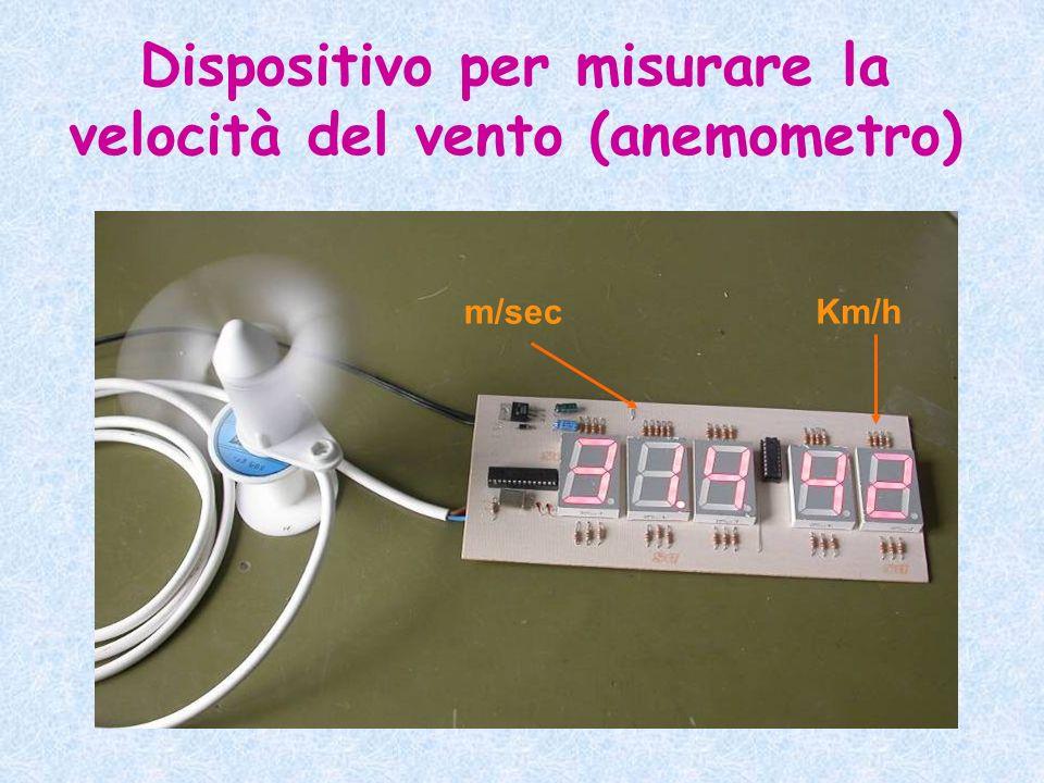 Dispositivo per misurare la velocità del vento (anemometro) m/secKm/h