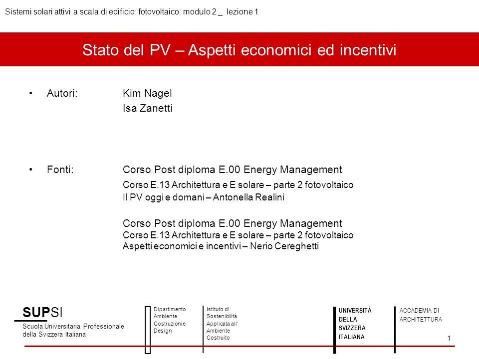 Stato del PV – Aspetti economici ed incentivi Autori:Kim Nagel Isa Zanetti Fonti:Corso Post diploma E.00 Energy Management Corso E.13 Architettura e E