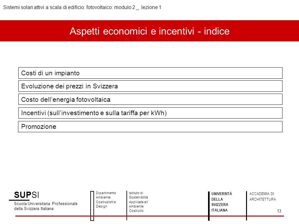 Aspetti economici e incentivi - indice Costi di un impianto Evoluzione dei prezzi in Svizzera Costo dellenergia fotovoltaica Incentivi (sullinvestimen