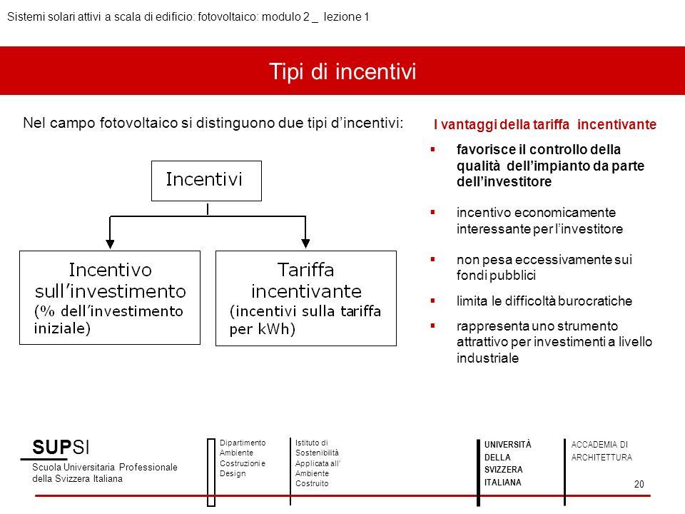 Tipi di incentivi Nel campo fotovoltaico si distinguono due tipi dincentivi: I vantaggi della tariffa incentivante favorisce il controllo della qualit