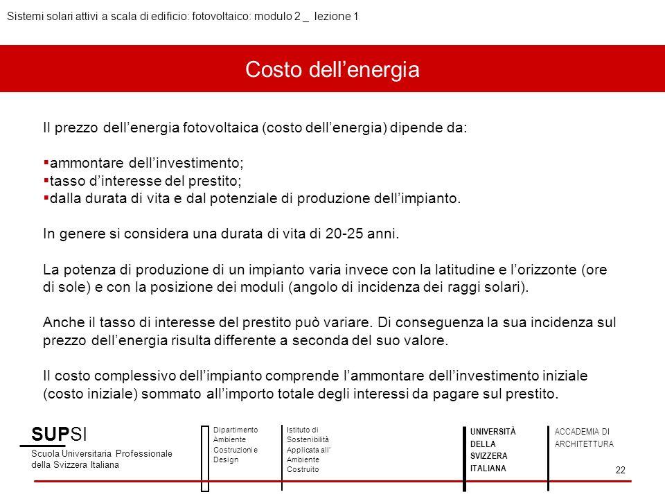 Costo dellenergia SUPSI Scuola Universitaria Professionale della Svizzera Italiana Dipartimento Ambiente Costruzioni e Design Istituto di Sostenibilit