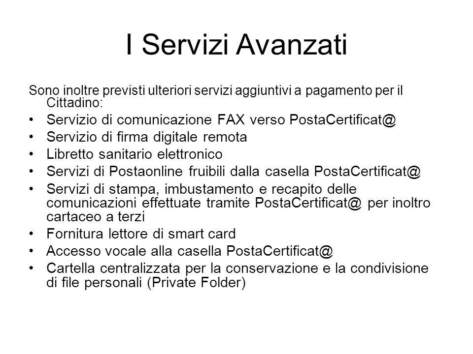 I Servizi Avanzati Sono inoltre previsti ulteriori servizi aggiuntivi a pagamento per il Cittadino: Servizio di comunicazione FAX verso PostaCertifica
