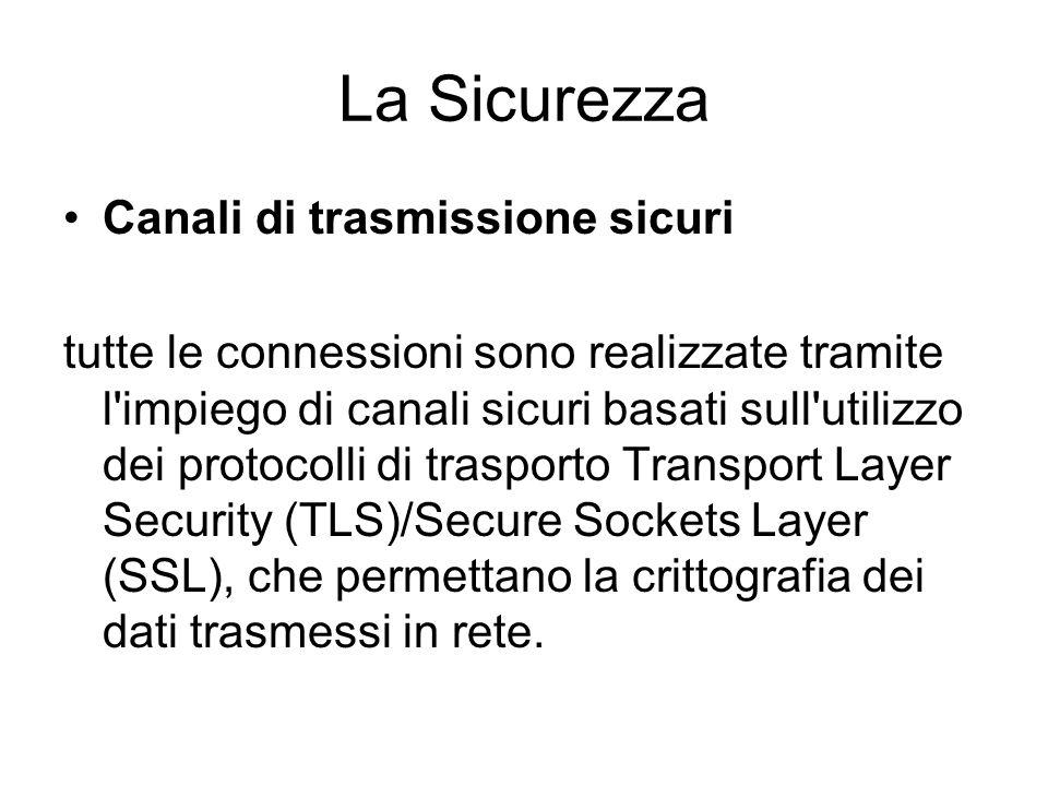 La Sicurezza Canali di trasmissione sicuri tutte le connessioni sono realizzate tramite l impiego di canali sicuri basati sull utilizzo dei protocolli di trasporto Transport Layer Security (TLS)/Secure Sockets Layer (SSL), che permettano la crittografia dei dati trasmessi in rete.