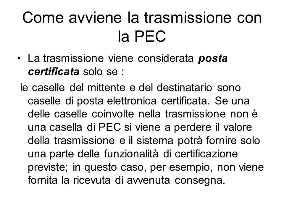 Come avviene la trasmissione con la PEC La trasmissione viene considerata posta certificata solo se : le caselle del mittente e del destinatario sono caselle di posta elettronica certificata.