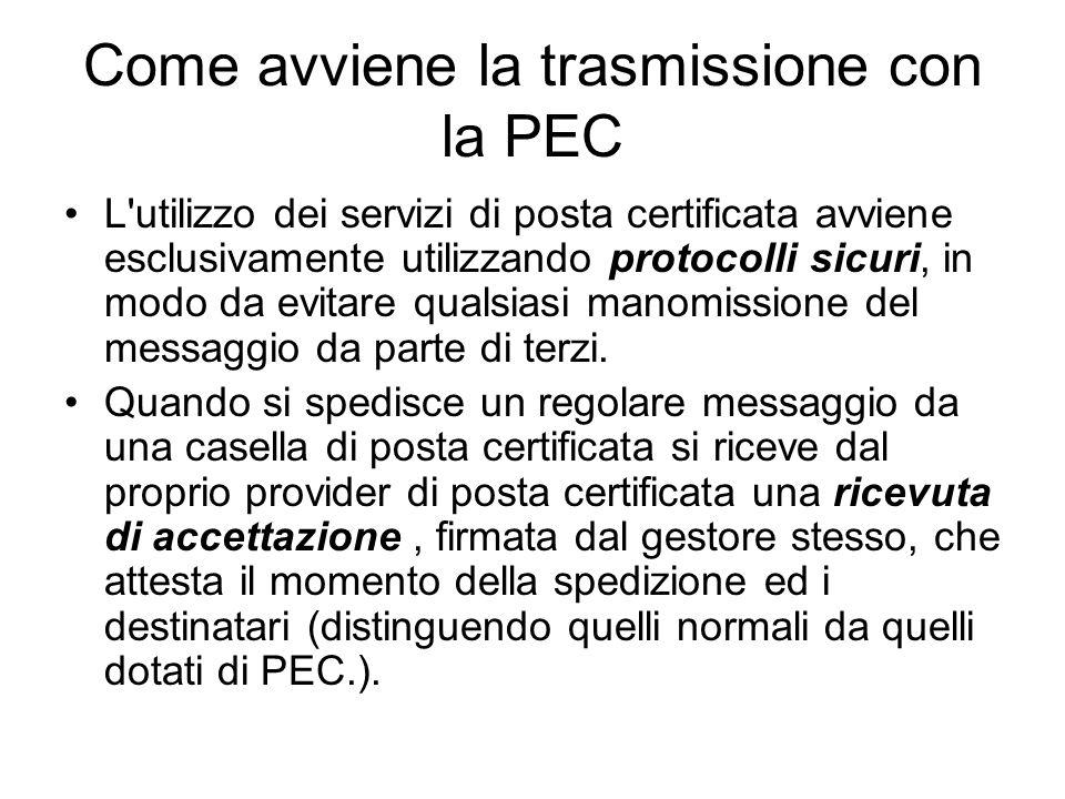 Come avviene la trasmissione con la PEC L utilizzo dei servizi di posta certificata avviene esclusivamente utilizzando protocolli sicuri, in modo da evitare qualsiasi manomissione del messaggio da parte di terzi.