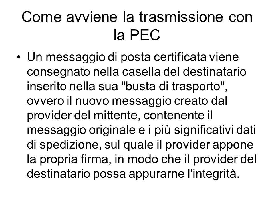Come avviene la trasmissione con la PEC Un messaggio di posta certificata viene consegnato nella casella del destinatario inserito nella sua