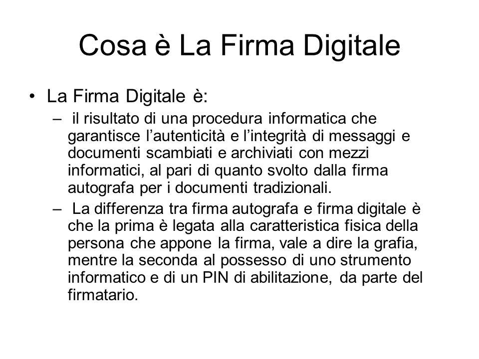 Cosa è La Firma Digitale La Firma Digitale è: – il risultato di una procedura informatica che garantisce lautenticità e lintegrità di messaggi e docum