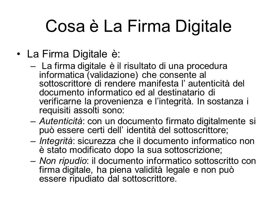 Cosa è La Firma Digitale La Firma Digitale è: – La firma digitale è il risultato di una procedura informatica (validazione) che consente al sottoscrittore di rendere manifesta l autenticità del documento informatico ed al destinatario di verificarne la provenienza e lintegrità.