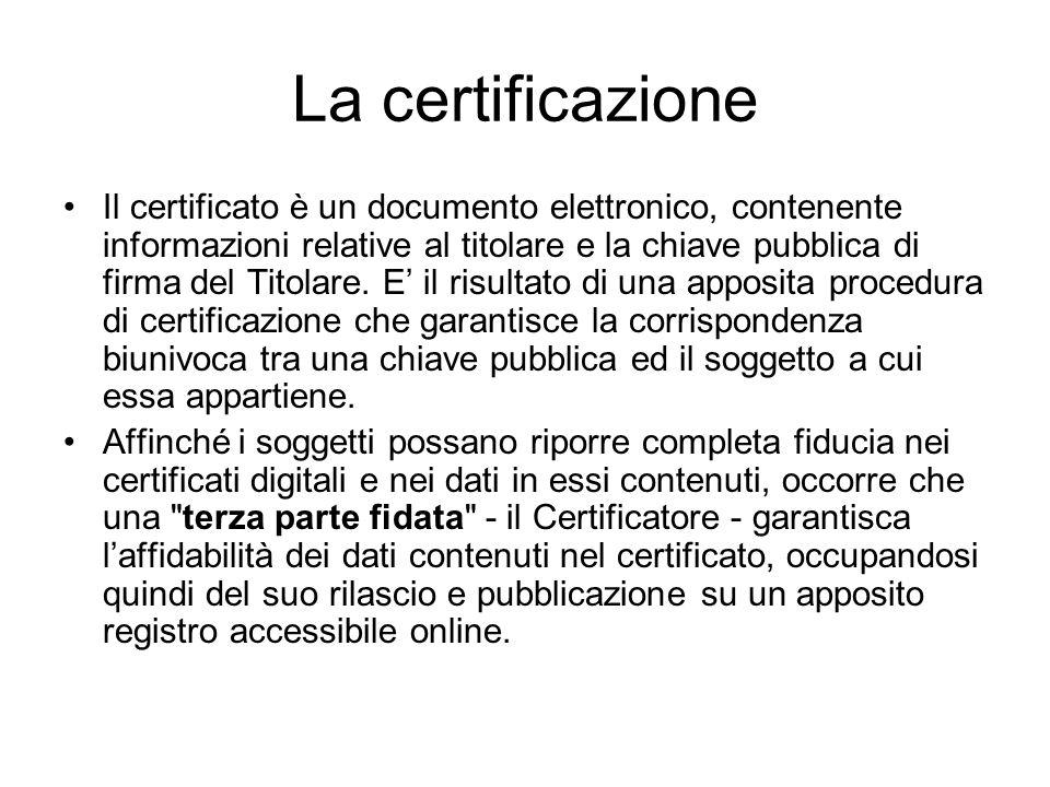 La certificazione Il certificato è un documento elettronico, contenente informazioni relative al titolare e la chiave pubblica di firma del Titolare.