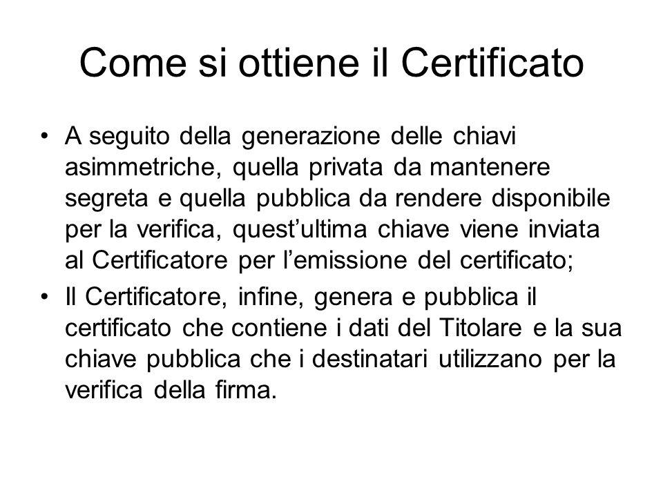 Come si ottiene il Certificato A seguito della generazione delle chiavi asimmetriche, quella privata da mantenere segreta e quella pubblica da rendere