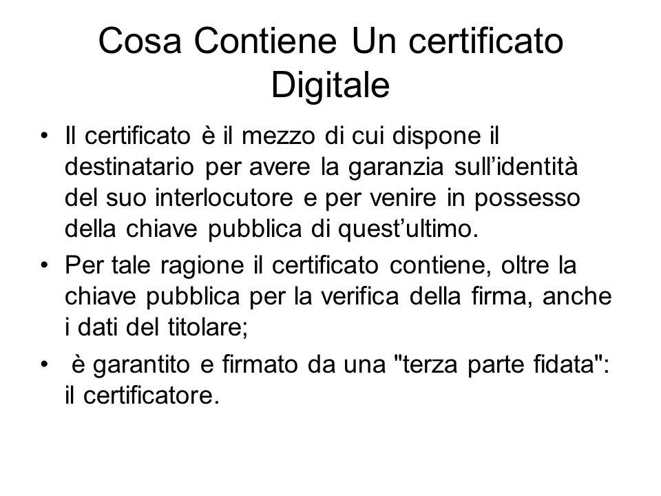 Cosa Contiene Un certificato Digitale Il certificato è il mezzo di cui dispone il destinatario per avere la garanzia sullidentità del suo interlocutore e per venire in possesso della chiave pubblica di questultimo.