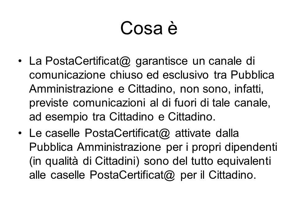 Cosa è La PostaCertificat@ garantisce un canale di comunicazione chiuso ed esclusivo tra Pubblica Amministrazione e Cittadino, non sono, infatti, previste comunicazioni al di fuori di tale canale, ad esempio tra Cittadino e Cittadino.