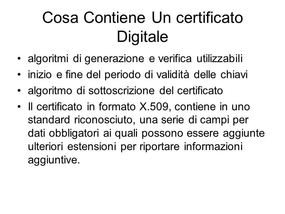 Cosa Contiene Un certificato Digitale algoritmi di generazione e verifica utilizzabili inizio e fine del periodo di validità delle chiavi algoritmo di sottoscrizione del certificato Il certificato in formato X.509, contiene in uno standard riconosciuto, una serie di campi per dati obbligatori ai quali possono essere aggiunte ulteriori estensioni per riportare informazioni aggiuntive.