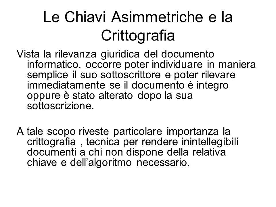 Le Chiavi Asimmetriche e la Crittografia Vista la rilevanza giuridica del documento informatico, occorre poter individuare in maniera semplice il suo