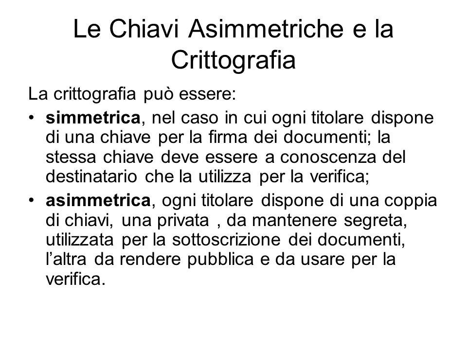 Le Chiavi Asimmetriche e la Crittografia La crittografia può essere: simmetrica, nel caso in cui ogni titolare dispone di una chiave per la firma dei