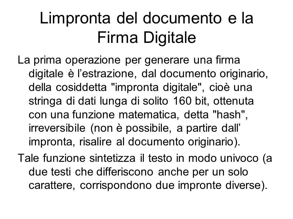 Limpronta del documento e la Firma Digitale La prima operazione per generare una firma digitale è lestrazione, dal documento originario, della cosidde
