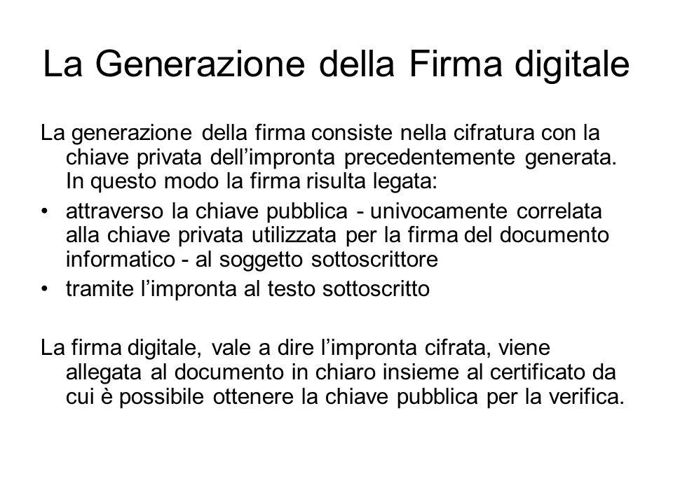 La Generazione della Firma digitale La generazione della firma consiste nella cifratura con la chiave privata dellimpronta precedentemente generata. I