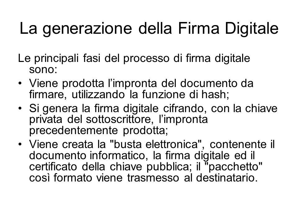 La generazione della Firma Digitale Le principali fasi del processo di firma digitale sono: Viene prodotta limpronta del documento da firmare, utilizz
