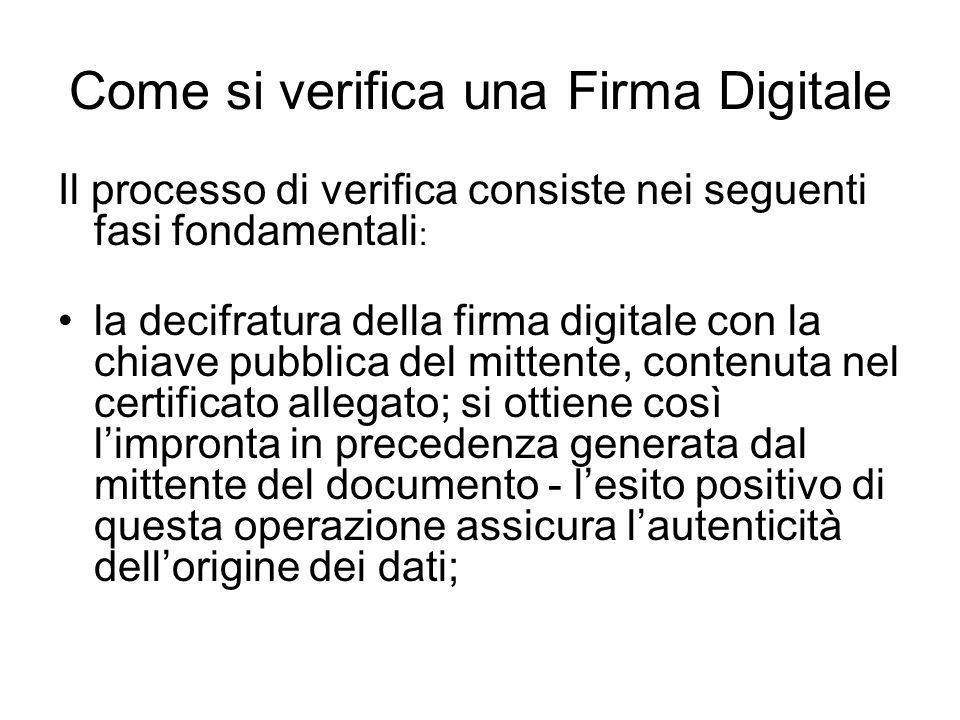 Come si verifica una Firma Digitale Il processo di verifica consiste nei seguenti fasi fondamentali : la decifratura della firma digitale con la chiav
