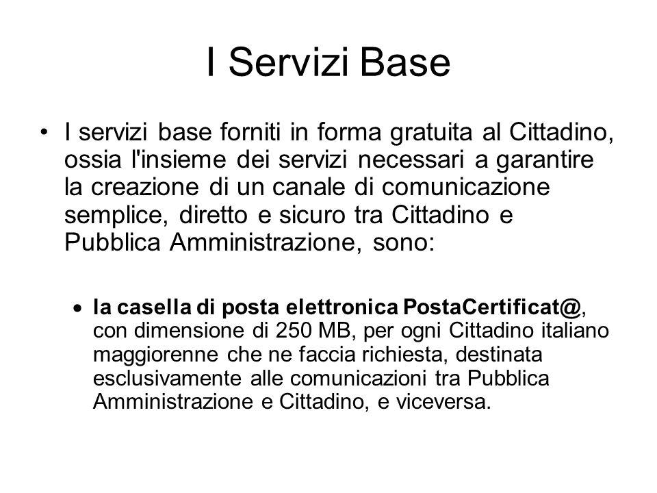 I Servizi Base I servizi base forniti in forma gratuita al Cittadino, ossia l'insieme dei servizi necessari a garantire la creazione di un canale di c