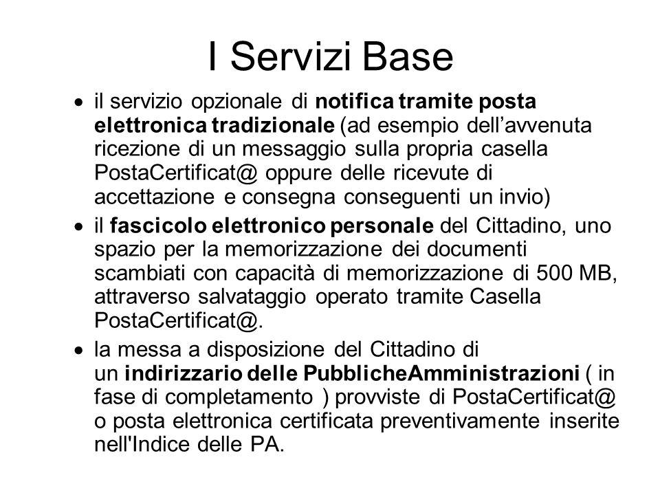 I Servizi Base il servizio opzionale di notifica tramite posta elettronica tradizionale (ad esempio dellavvenuta ricezione di un messaggio sulla propr