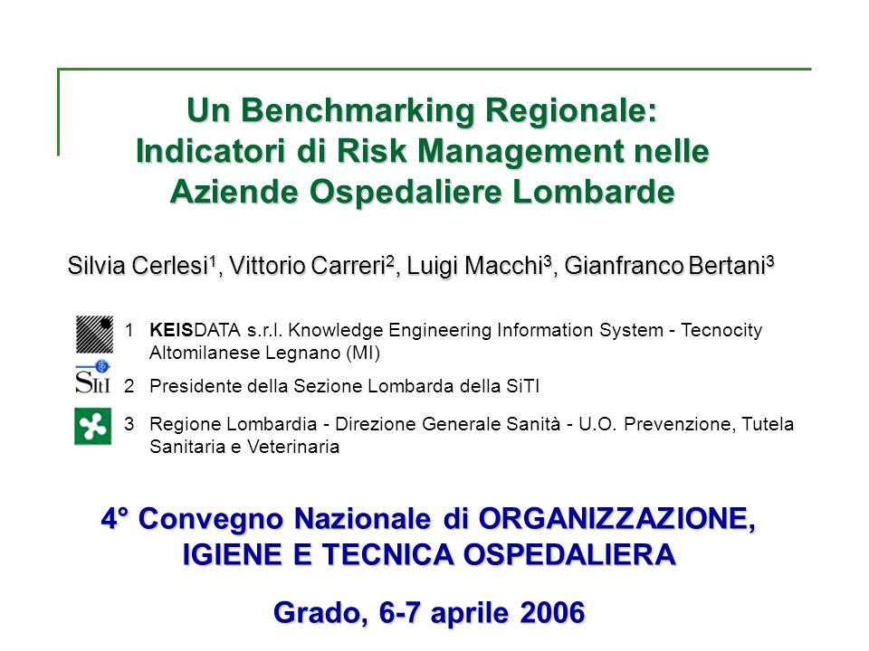 Un Benchmarking Regionale: Indicatori di Risk Management nelle Aziende Ospedaliere Lombarde Silvia Cerlesi 1, Vittorio Carreri 2, Luigi Macchi 3, Gian