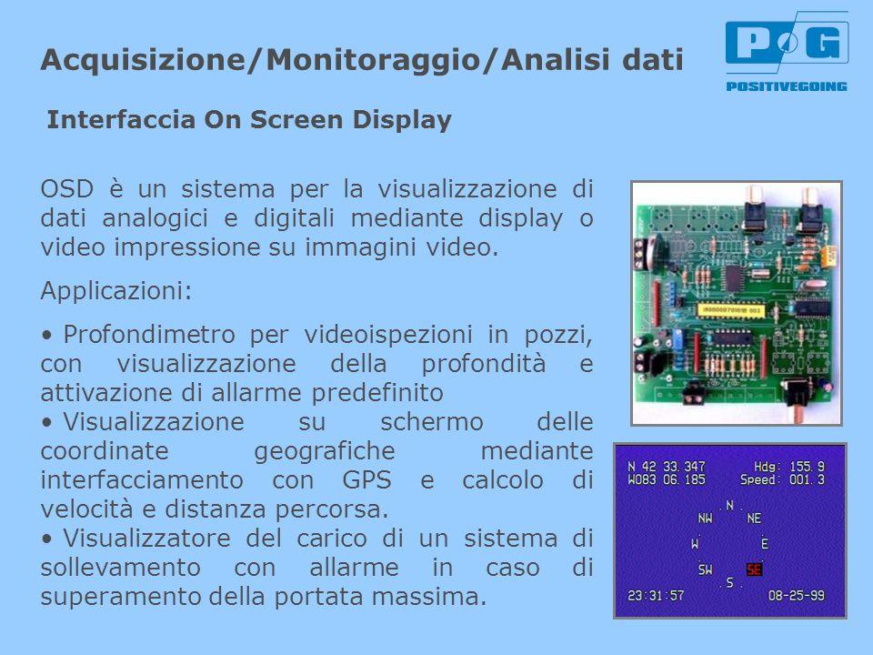 Acquisizione/Monitoraggio/Analisi dati OSD è un sistema per la visualizzazione di dati analogici e digitali mediante display o video impressione su im