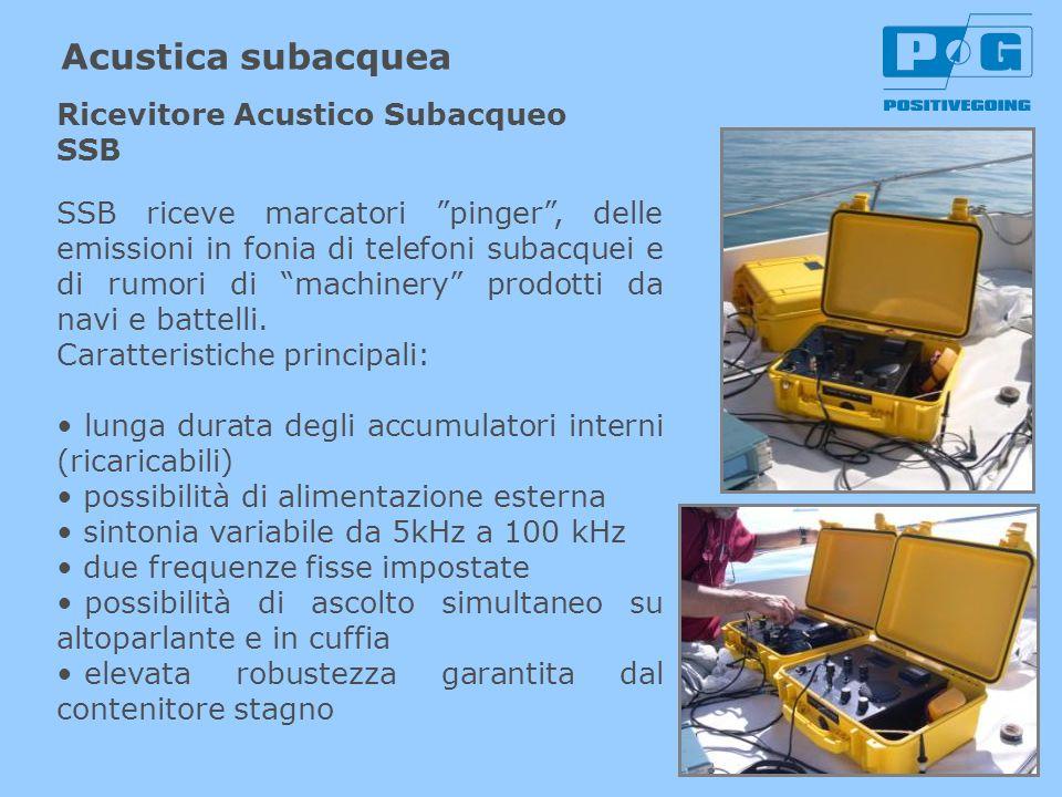 Acustica subacquea SSB riceve marcatori pinger, delle emissioni in fonia di telefoni subacquei e di rumori di machinery prodotti da navi e battelli. C