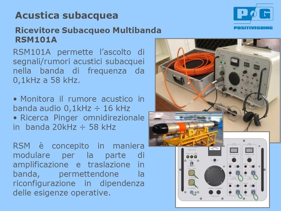 Acustica subacquea RSM101A permette lascolto di segnali/rumori acustici subacquei nella banda di frequenza da 0,1kHz a 58 kHz. Monitora il rumore acus