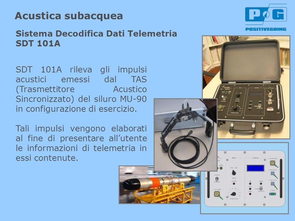 SDT 101A rileva gli impulsi acustici emessi dal TAS (Trasmettitore Acustico Sincronizzato) del siluro MU-90 in configurazione di esercizio. Tali impul