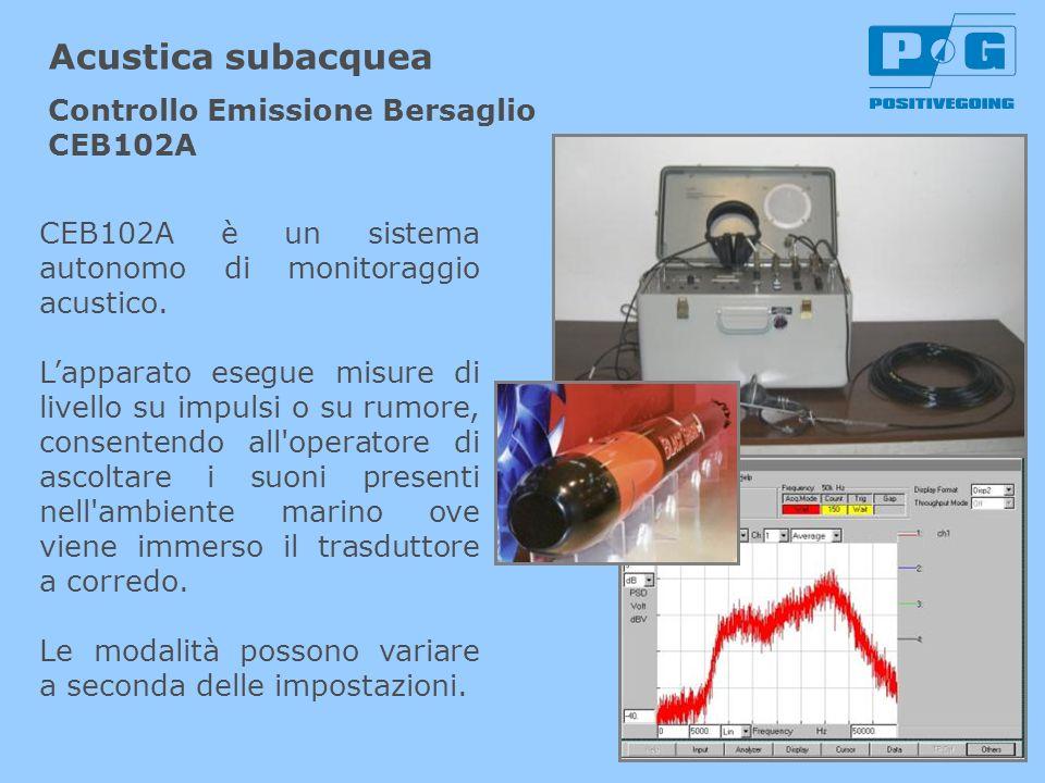 CEB102A è un sistema autonomo di monitoraggio acustico. Lapparato esegue misure di livello su impulsi o su rumore, consentendo all'operatore di ascolt