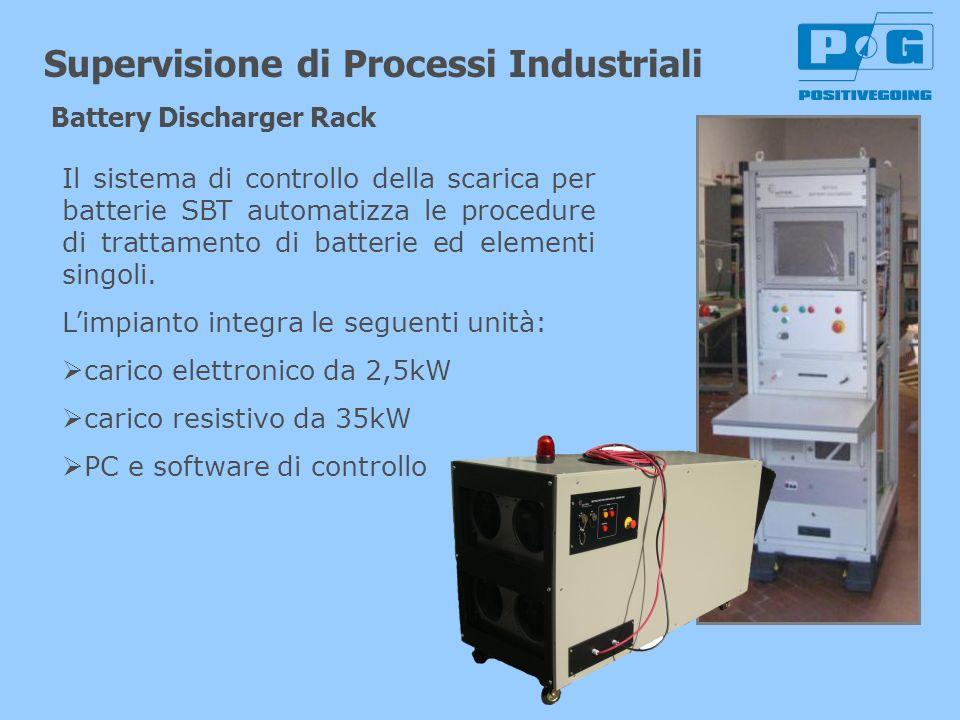 Supervisione di Processi Industriali Battery Discharger Rack Il sistema di controllo della scarica per batterie SBT automatizza le procedure di tratta