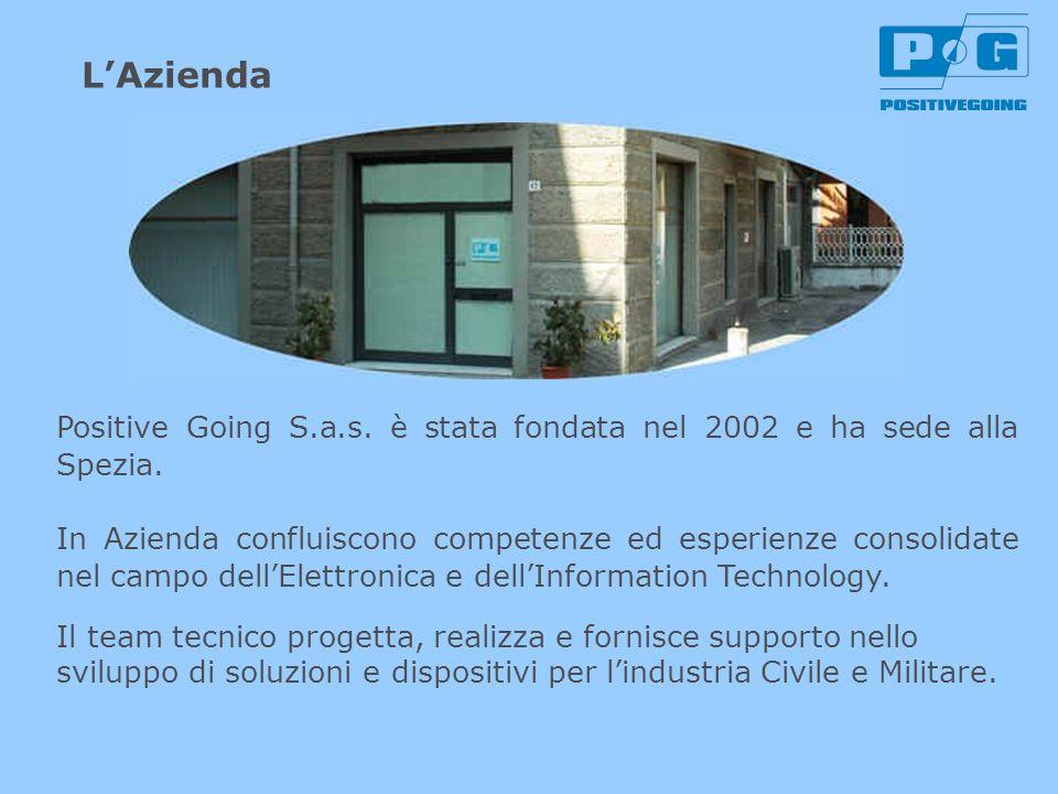 Positive Going è composta da un gruppo di 10 persone che mira a controllare la filiera di prodotto: ingegneri, tecnici progettisti di hardware elettronico, sistemisti, sviluppatori software, cablatori, editor della documentazione.