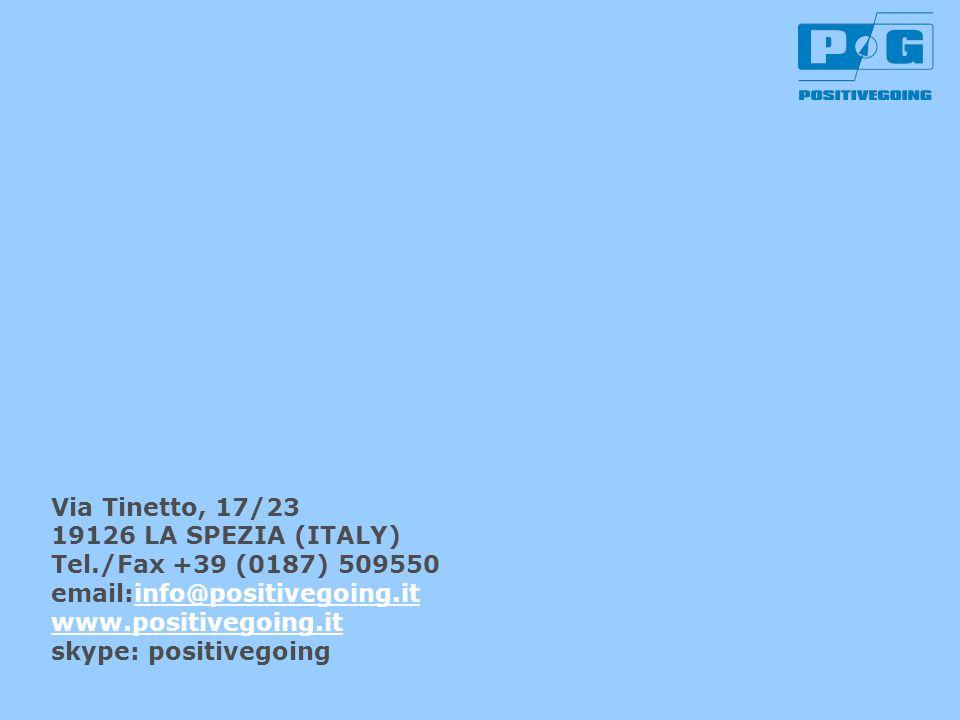Via Tinetto, 17/23 19126 LA SPEZIA (ITALY) Tel./Fax +39 (0187) 509550 email:info@positivegoing.itinfo@positivegoing.it www.positivegoing.it skype: pos