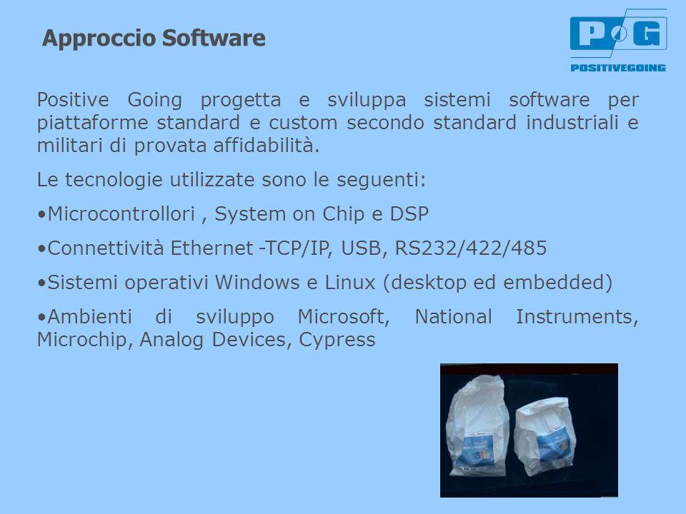 Approccio Software Positive Going progetta e sviluppa sistemi software per piattaforme standard e custom secondo standard industriali e militari di pr