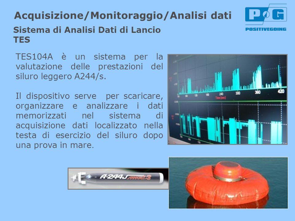 TES104A è un sistema per la valutazione delle prestazioni del siluro leggero A244/s. Il dispositivo serve per scaricare, organizzare e analizzare i da