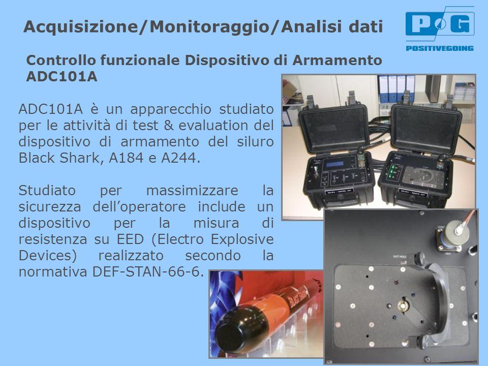 ADC101A è un apparecchio studiato per le attività di test & evaluation del dispositivo di armamento del siluro Black Shark, A184 e A244. Studiato per