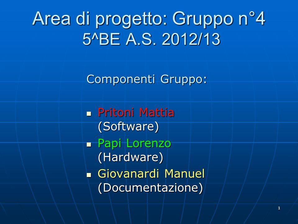 1 Area di progetto: Gruppo n°4 5^BE A.S. 2012/13 Componenti Gruppo: Pritoni Mattia (Software) Pritoni Mattia (Software) Papi Lorenzo (Hardware) Papi L