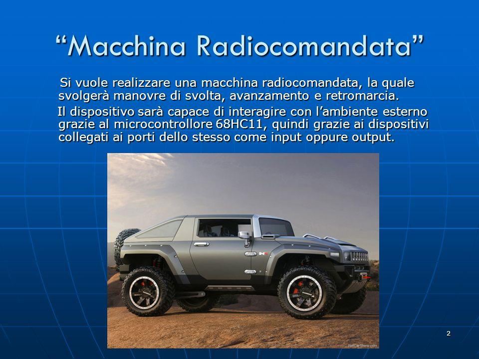 2 Macchina Radiocomandata Si vuole realizzare una macchina radiocomandata, la quale svolgerà manovre di svolta, avanzamento e retromarcia. Si vuole re