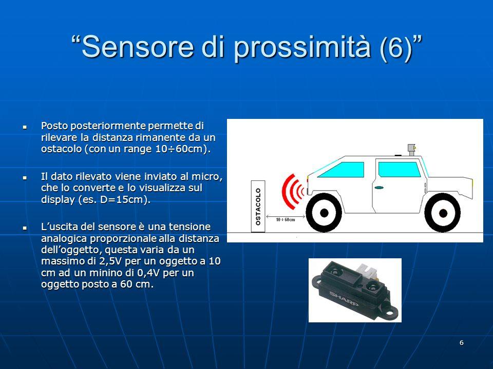 6 Sensore di prossimità (6) Sensore di prossimità (6) Posto posteriormente permette di rilevare la distanza rimanente da un ostacolo (con un range 10÷