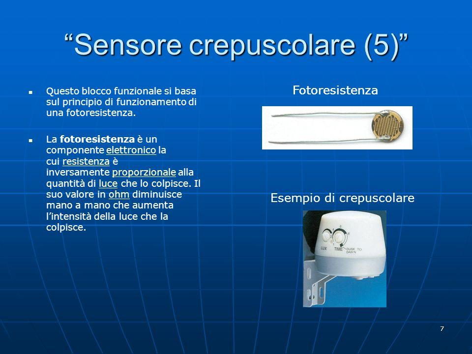 7 Sensore crepuscolare (5) Questo blocco funzionale si basa sul principio di funzionamento di una fotoresistenza. La fotoresistenza è un componente el