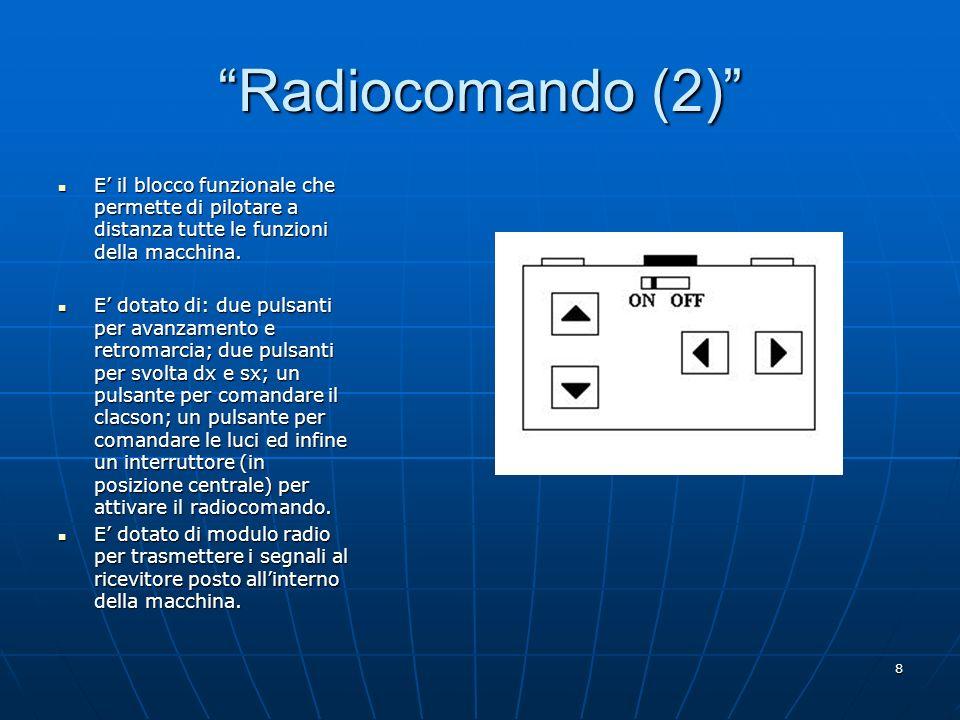 8 Radiocomando (2) E il blocco funzionale che permette di pilotare a distanza tutte le funzioni della macchina. E il blocco funzionale che permette di