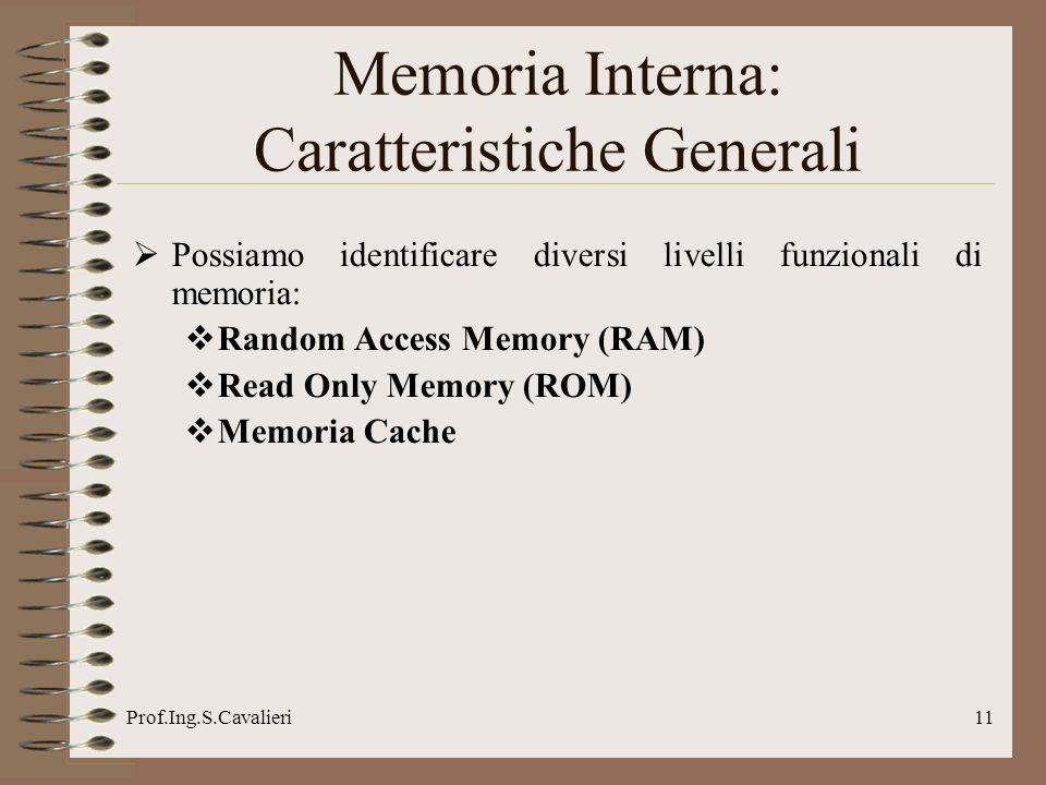 Prof.Ing.S.Cavalieri11 Possiamo identificare diversi livelli funzionali di memoria: Random Access Memory (RAM) Read Only Memory (ROM) Memoria Cache Memoria Interna: Caratteristiche Generali